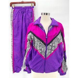 Vtg 80s 90s Colorblock Windbreaker Track Suit Sz S